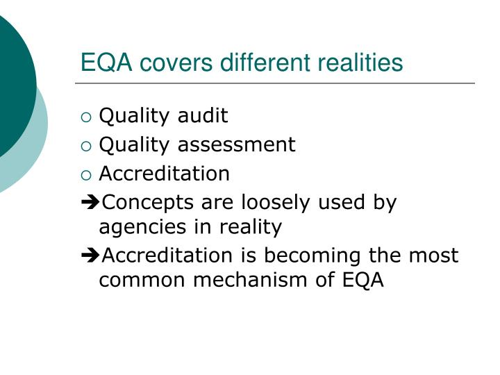 EQA covers different realities