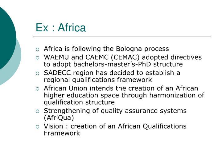 Ex : Africa