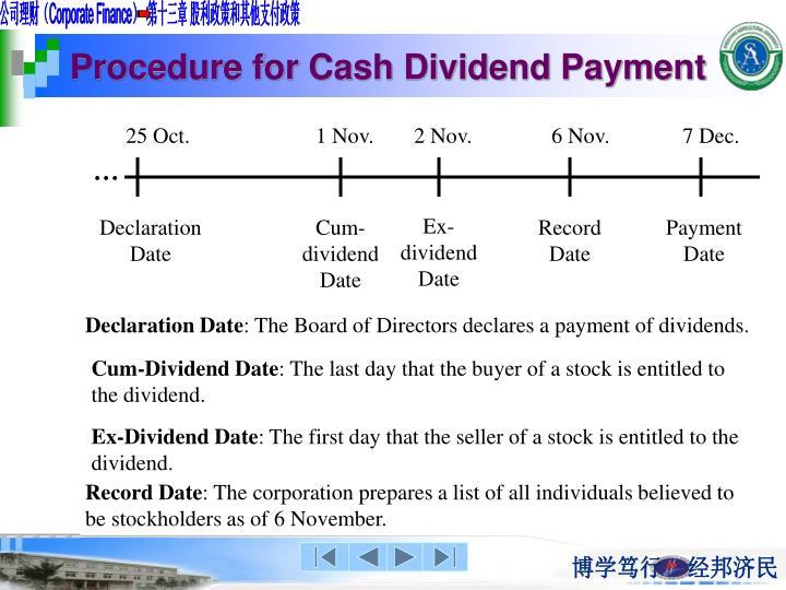 Procedure for Cash Dividend Payment