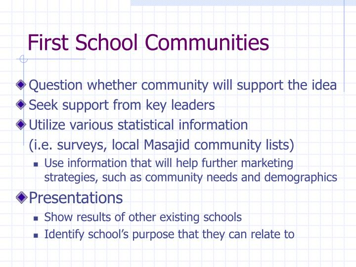 First School Communities