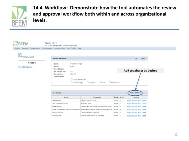 14.4  Workflow:  Demonstrate how the tool automates the review and approval workflow both within and across organizational levels.