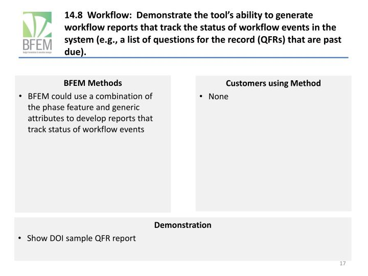 14.8  Workflow:  Demonstrate the tool's ability to generate workflow reports that track the status of workflow events in the system (e.g., a list of questions for the record (QFRs) that are past due).