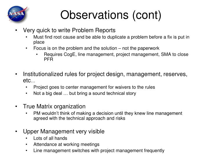 Observations (cont)