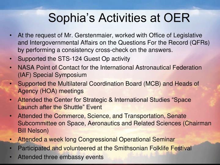 Sophia's Activities at OER