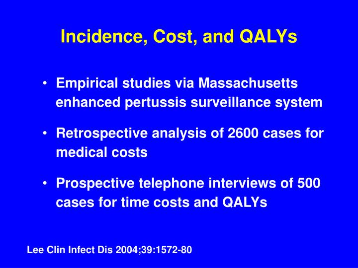 Incidence, Cost, and QALYs