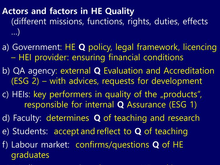 Actors and factors in HE Quality