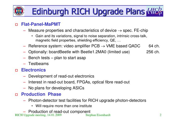 Edinburgh RICH Upgrade Plans