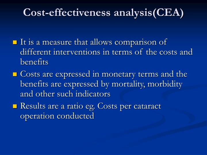 Cost-effectiveness analysis(CEA)