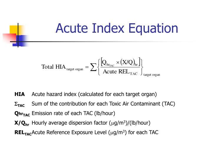 Acute Index Equation
