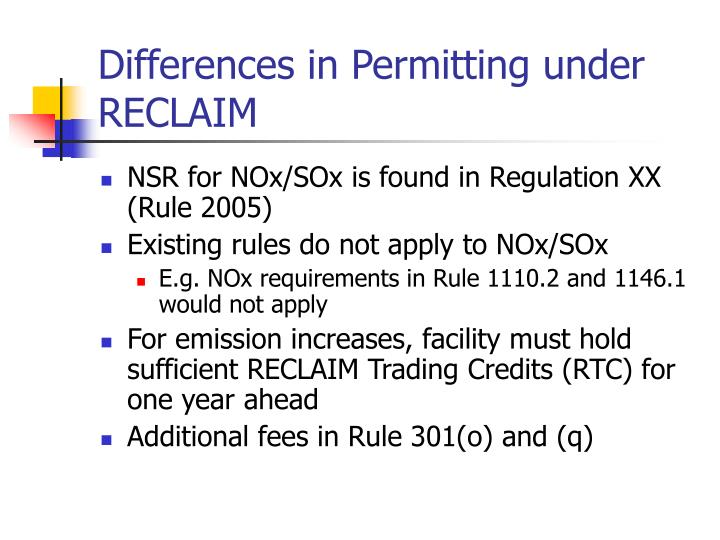 Differences in Permitting under RECLAIM