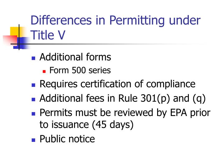 Differences in Permitting under Title V