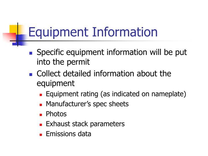 Equipment Information