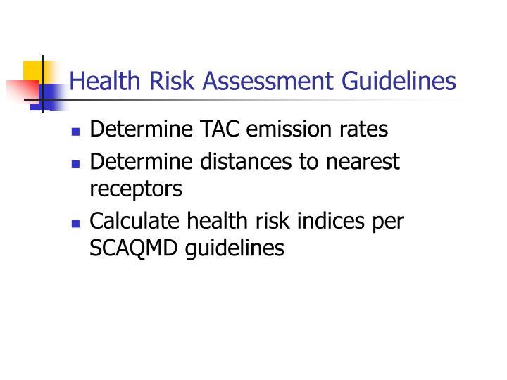 Health Risk Assessment Guidelines