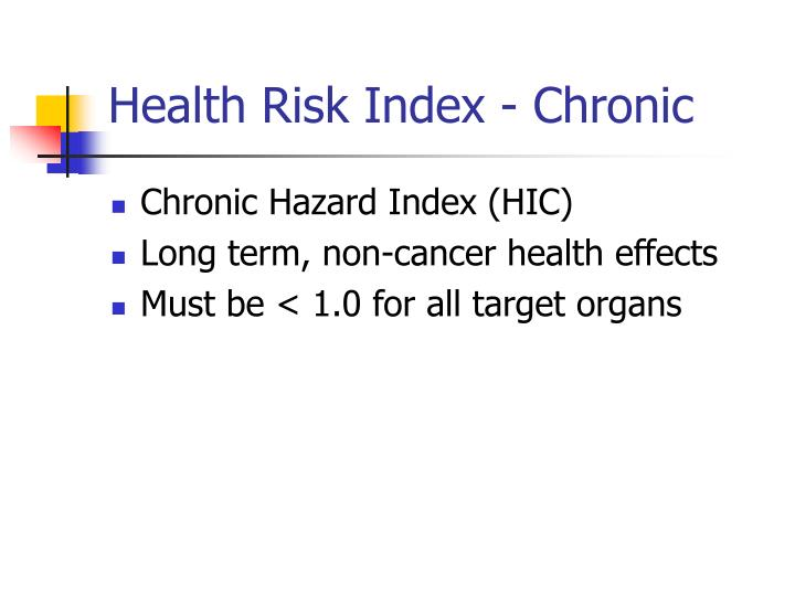 Health Risk Index - Chronic