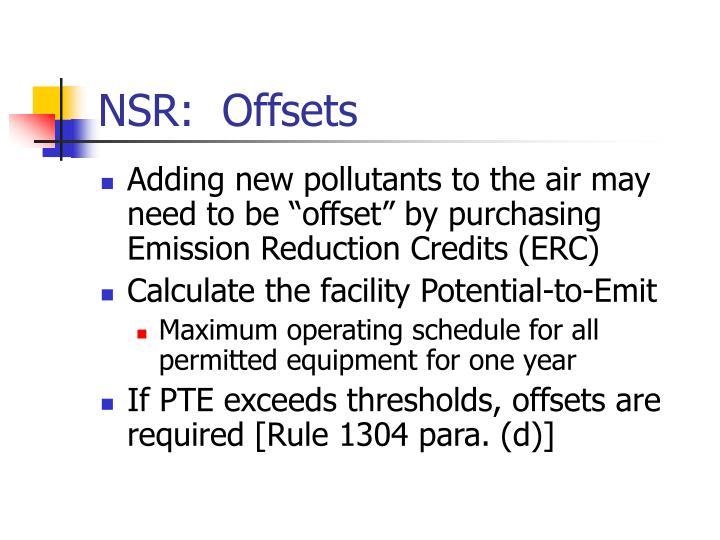 NSR:  Offsets