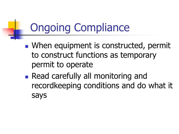 Ongoing Compliance