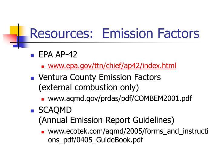 Resources:  Emission Factors