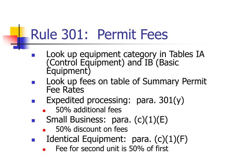 Rule 301:  Permit Fees