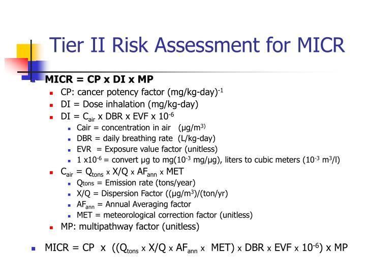 Tier II Risk Assessment for MICR