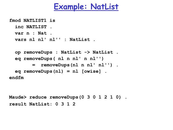 Example: NatList