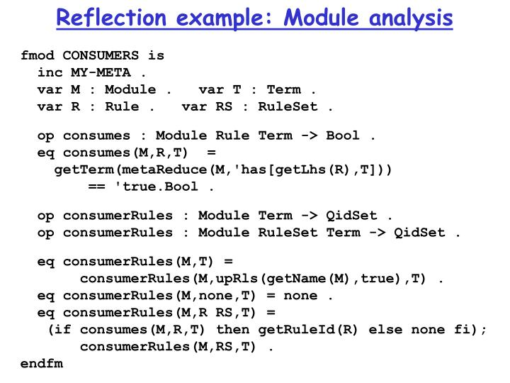 Reflection example: Module analysis