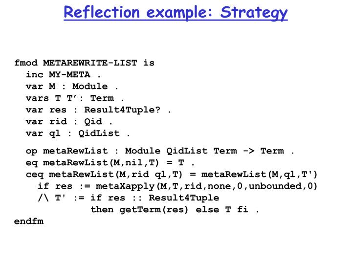 Reflection example: Strategy