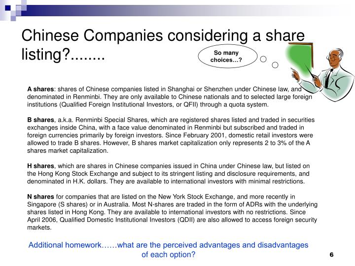Chinese Companies considering a share listing?........