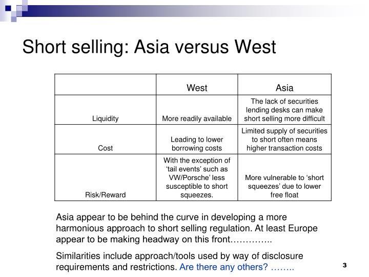 Short selling asia versus west