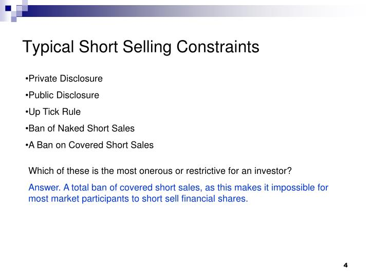 Typical Short Selling Constraints
