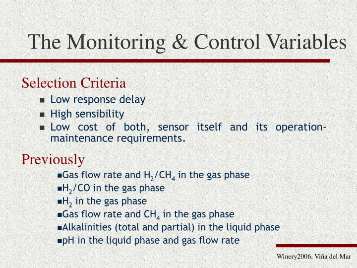 The Monitoring & Control Variables