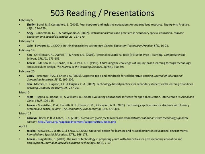 503 Reading / Presentations