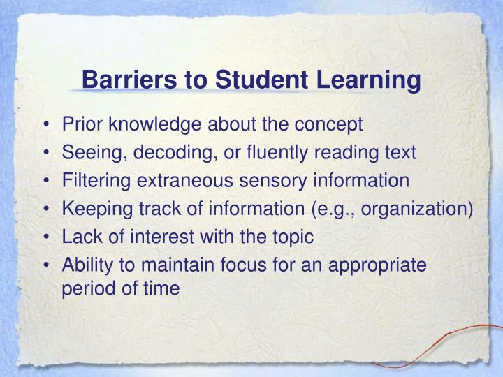 Barriers to Student Learning