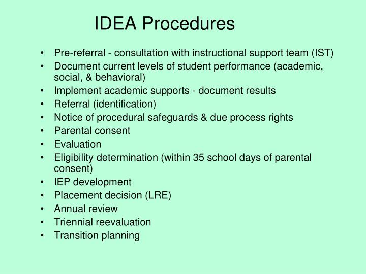 IDEA Procedures