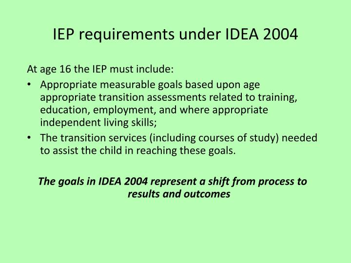 IEP requirements under IDEA 2004