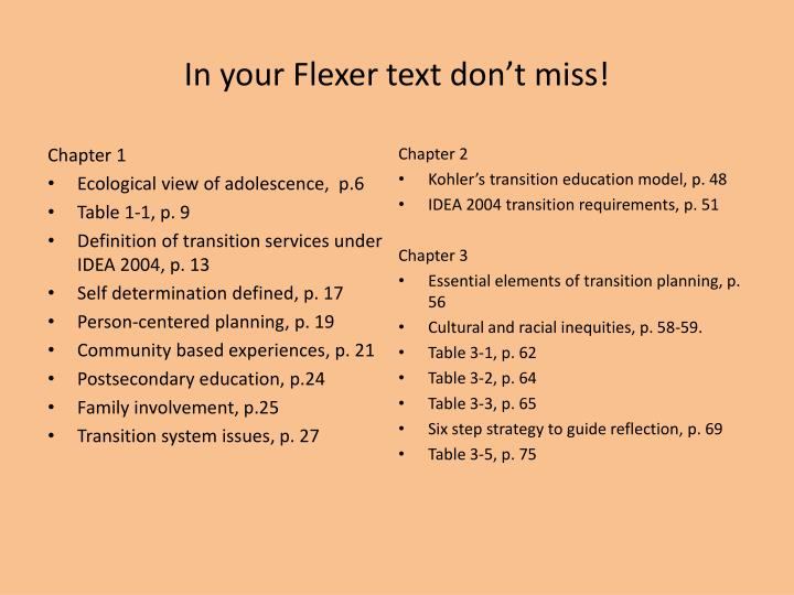In your Flexer text don't miss!