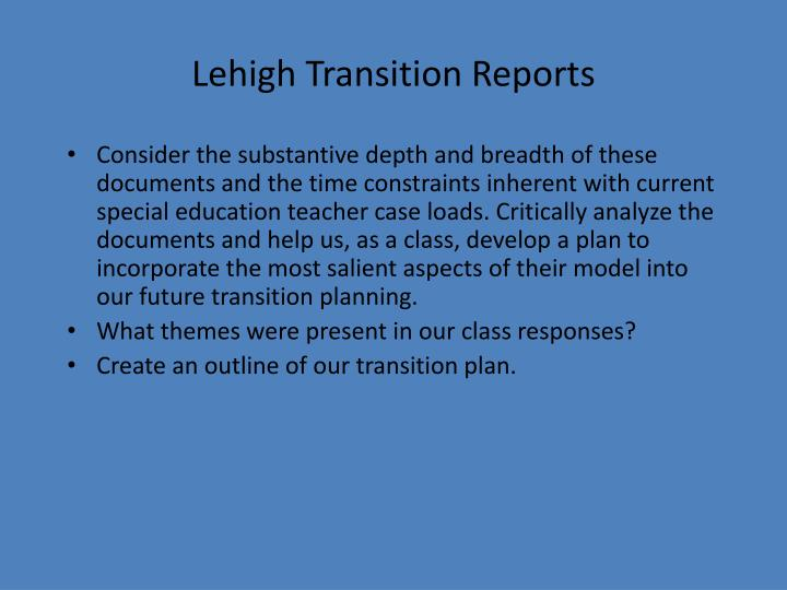 Lehigh Transition Reports