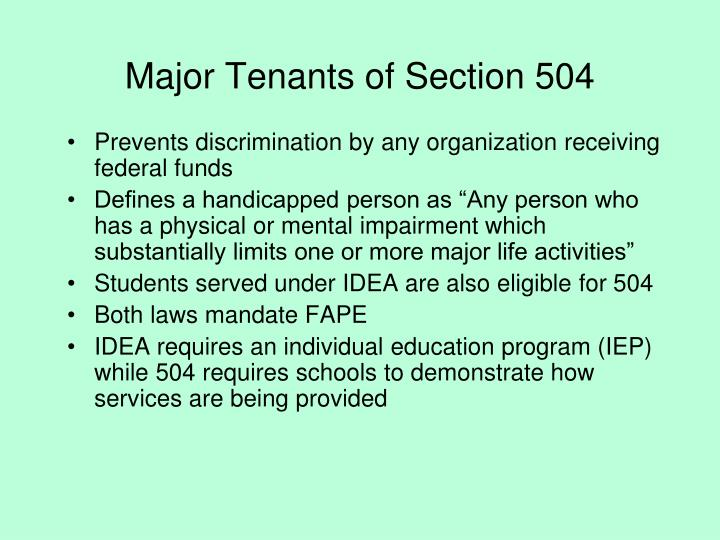 Major Tenants of Section 504