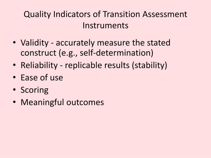 Quality Indicators of Transition Assessment Instruments