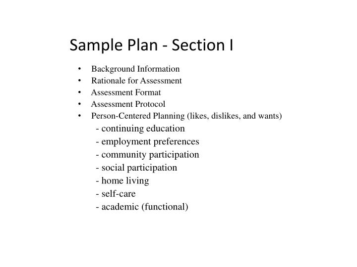 Sample Plan - Section I