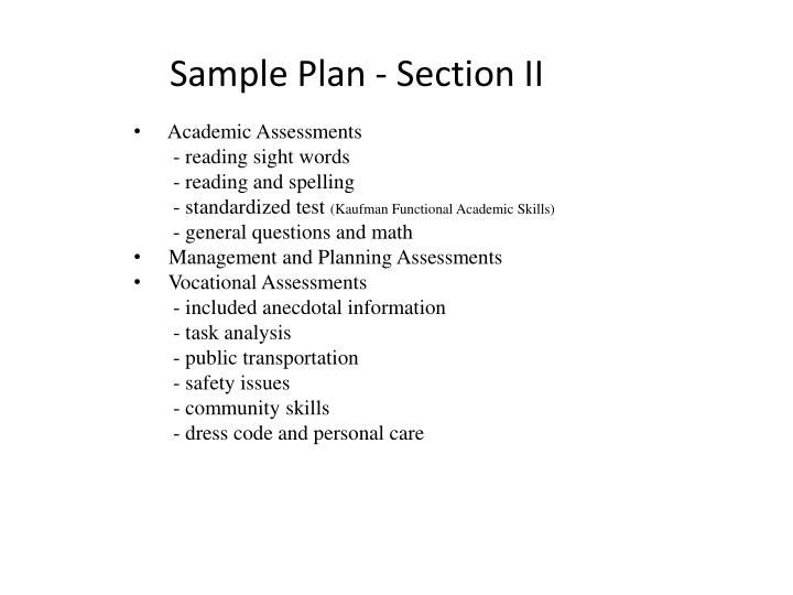 Sample Plan - Section II