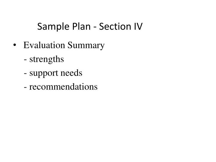 Sample Plan - Section IV