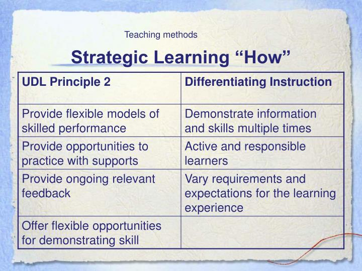 "Strategic Learning ""How"""