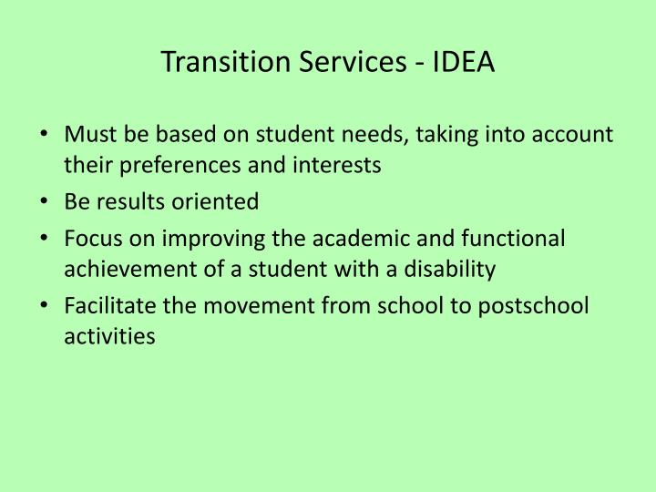 Transition Services - IDEA