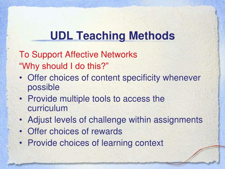 UDL Teaching Methods