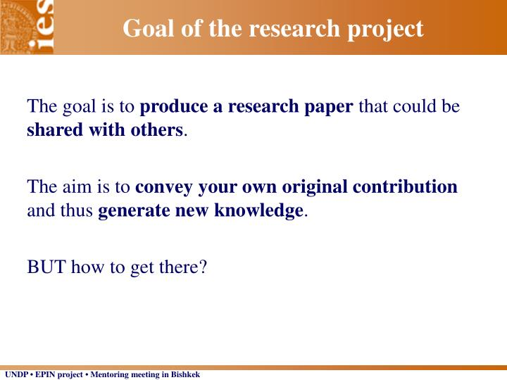 Goal of the research project