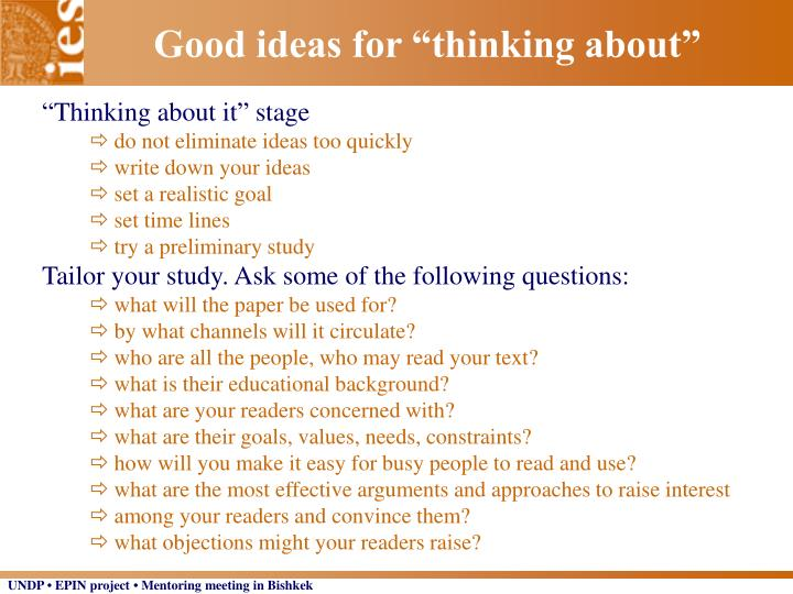 """Good ideas for """"thinking about"""""""