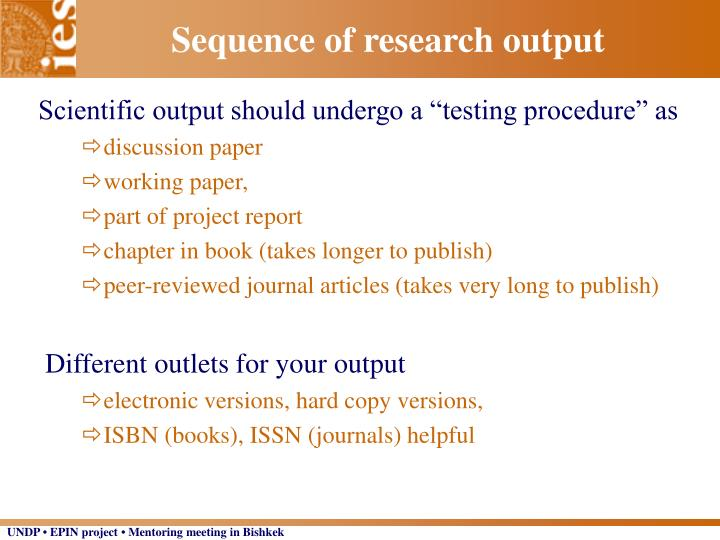 Sequence of research output