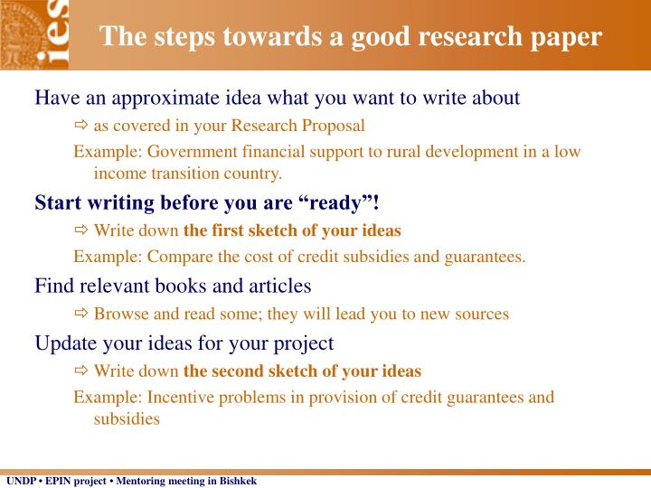 The steps towards a good research paper