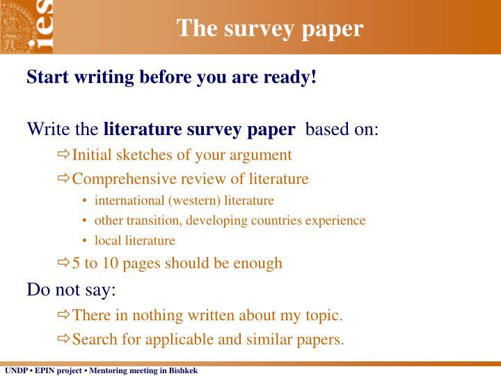 The survey paper