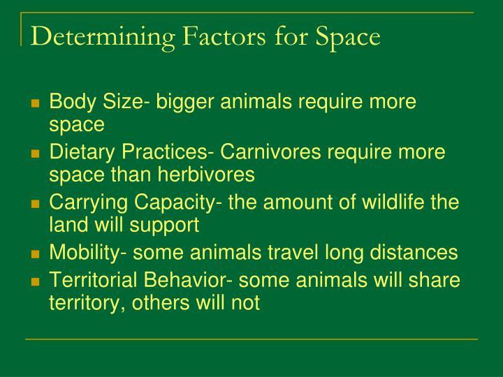 Determining Factors for Space